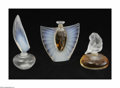 Art Glass:Other , A Trio Of Art Glass Perfume Bottles Lalique, France A grouping ofthree Lalique perfume bottles comprising a flacon ... (3 Items)