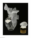 Art Glass:Other , A Pair Of Glass Perfume Bottles Lalique, France The Laliquedesigned factice for Nina Ricci includes a bulbous f... (2 Items)