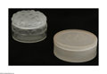 Art Glass:Other , A Pair Of French Powder Boxes Lalique, France, and unknown houseThe first, a round clear glass powder box, the lid of f... (2Items)