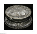 Art Glass:Other , A Cut Glass Box The box of ABP cut glass with silver mount 2.5in.long...