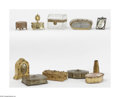 Art Glass:Other , A Grouping Of Vanity And Dresser Items A grouping of vanity itemsincluding seven boxes, a frame, a tray, clock and vase,... (11Items)
