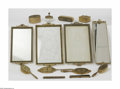 Art Glass:Other , A Group Of Vanity Items The group of vanity items includingmirrored tray with glass base accompanied by embellished bron...(14 Items)