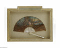 Miscellaneous: , A French Folding Fan Maker unknown, c.Late Nineteenth Century Thesticks of carved and gilded Mother of Pearl of alterna...