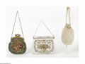 Miscellaneous: , Three Vintage Evening Bags Various makers, Twentieth Century Thefirst, a handmade white beaded bag with a needle point ... (3Items)
