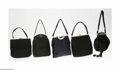 Miscellaneous: , Five Vintage Handbags Various makers, c.1950-60 The first, a blacksilk bag with a gold ribbon closure; a black wool fel... (5 Items)