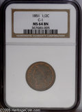 """Half Cents: , 1851 1/2 C MS64 Red and Brown NGC C-1. The current Coin DealerNewsletter (Greysheet) wholesale """"bid"""" price is $545.00...."""