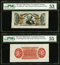 Fractional Currency:Third Issue, Fr. 1328SP 50¢ Third Issue Spinner Wide Margin Pair PMG Graded. . ... (Total: 2 notes)