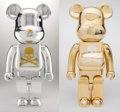 Fine Art - Sculpture, American:Contemporary (1950 to present), BE@RBRICK X Mastermind. World Wide Tour 1000% (Silver andGold) (two works), 2007. Painted cast vinyl (each). 28-1/4 x1... (Total: 2 Items)