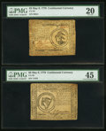 Colonial Notes:Continental Congress Issues, Continental Currency Pair.. ... (Total: 2 notes)
