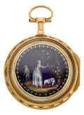 Timepieces:Pocket (pre 1900) , Vaucher Very Fine Gold & Enamel Quarter Repeating Verge Fusee,circa 1800. ...