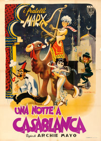 "A Night in Casablanca (Union Films, 1950). Italian 4 - Fogli (55"" X 75.5"") Enrico de Seta Artwork"