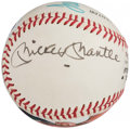 Autographs:Baseballs, Mickey Mantle and Tom Seaver Dual-Signed Portrait Baseball.. ...