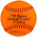 Baseball Collectibles:Balls, 1973 Official Charles O. Finley Prototype Orange Baseball withOriginal Box.. ...