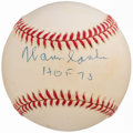"Autographs:Baseballs, Warren Spahn ""HOF 73"" Single Signed Baseball PSA NM 8. . ..."