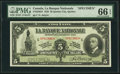 Canadian Currency: , Quebec City, PQ- La Banque Nationale $5 Nov. 2, 1922 Ch. #510-22-02S Specimen.. ...