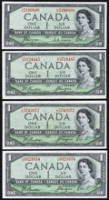 Canadian Currency, Canada $1 1954 Devil's Face Portrait Four Examples.. ... (Total: 4notes)