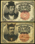 Fractional Currency, Pair of 10¢ Fifth Issue satirical cartoon notes Fine or better.. ... (Total: 2 notes)