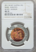 "Austria, Austria: Pair of Certified Republic bi-metallic (silver-niobium)""Robotics"" 25 Euros 2011 MS70 NGC,... (Total: 2 coins)"
