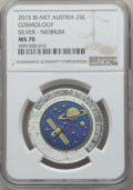 "Austria, Austria: Pair of Certified Republic bi-metallic (silver-niobium) ""Cosmology"" 25 Euros 2015 MS70 NGC,... (Total: 2 coins)"