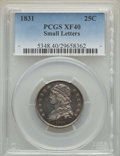 Bust Quarters, 1831 25C Small Letters XF40 PCGS. PCGS Population: (60/471). NGC Census: (23/412). XF40. Mintage 398,000. ...