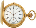 Timepieces, Longines Fine 18k Gold Minute Repeater With Chronograph. ...