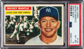 Baseball Cards:Singles (1950-1959), 1956 Topps Mickey Mantle (Gray Back) #135 PSA EX-MT 6....
