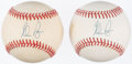 Autographs:Baseballs, Nolan Ryan Single Signed Baseball Lot of 2. . ...