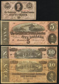Confederate Notes, T63 50 Cents 1863;. T65 $100 1864;. T66 $50 1864;. T67 $20 1864;.T68 $10 1864 (2);. T69 $5 1864.. ... (Total: 7 notes)