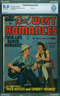 Real West Romances #1 - CBCS CERTIFIED (Prize, 1949) CGC VF 8.0 Off-white to white pages