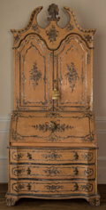 Furniture : Continental, A Venetian Paint-Decorated Secretary Desk, 19th century. 92 h x42-1/2 w x 20 d inches (233.7 x 108.0 x 50.8 cm) (closed). ...