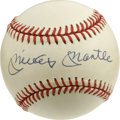 Autographs:Baseballs, Mickey Mantle Single Signed Baseball. Among the most coveted collectibles in the hobby, the current offering puts a perfect...