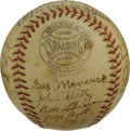 Autographs:Baseballs, 1938 New York Giants Team Signed Baseball. Amazing vintage memento puts twenty-two signatures on the surface of the provide...