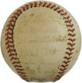 Autographs:Baseballs, 1939 New York Giants Team Signed Baseball. Tremendous vintage orbhere comes from the 1939 New York Giants, with 22 signatu...