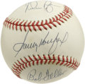 Autographs:Baseballs, Koufax, Ryan, and Feller Multi-Signed Baseball. The ONL (White) orbthat is offered here has been adorned with a trio of tr...