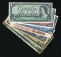 Canadian Currency: , BC-37b-i $1 1954 Modified Portrait Choice CU. BC-38b $2 1954Modified Portrait Choice CU. BC-39b $5 1954 Modified Port...(Total: 7 notes)