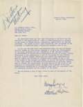 Movie/TV Memorabilia:Autographs and Signed Items, Charlie Chaplin and Mary Pickford Signed United Artists Letter. Asingle-page letter dated May 24, 1949, discussing the poss...