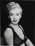 "Movie/TV Memorabilia:Photos, Marilyn Monroe Original Photo. A striking 8"" x 10"" b&w photo ofMarilyn in lingerie, #98 in a limited edition of 99 prints s..."