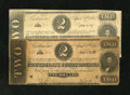 Confederate Notes:1863 Issues, T61 $2 1863 Two Examples. Fine; VF. The top edge shows several tears, including an approximate half inch tear on the former ... (Total: 2 notes)