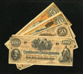Confederate Notes:1862 Issues, Confederate Facsimile notes from the 1950s including T41 $100 1862XF, with two missing corners; T65 $50 1864 VF, with... (Total: 4notes)