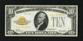 Small Size:Gold Certificates, Fr. 2400 $10 1928 Gold Certificate. Extremely Fine-About Uncirculated.. Nice color and two light folds are characteristics o...