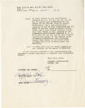 Movie/TV Memorabilia:Autographs and Signed Items, Lucille Ball and Desi Arnaz Signed CBS Agreement. A two-page agreement on CBS letterhead dated March 5, 1957, between the co...