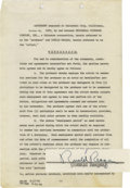 Movie/TV Memorabilia:Autographs and Signed Items, Ronald Reagan Signed Contract. An 34-page, five-picture employment contract between Reagan and Universal Pictures dated Octo...
