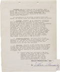 "Movie/TV Memorabilia:Autographs and Signed Items, Desi Arnaz Signed Contract for Final Episodes of ""I Love Lucy."" A27-page contract dated October 1, 1956, between CBS Televi..."