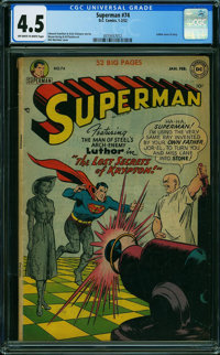 Superman #74 (DC, 1952) CGC VG+ 4.5 OFF-WHITE TO WHITE pages