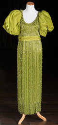 American:Academic, A Zsa Zsa Gabor Pair of Evening Gowns, 1970s-1980s.. Two total; thefirst lime green silk, floor-length, spaghetti straps, s... (Total:2 Items)