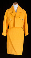 American:Academic, A Zsa Zsa Gabor Suit Worn to Her Trial, 1989.. The jacketsunshine-yellow cotton with a textured pattern, cropped,exaggerat...