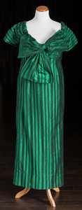 "American:Academic, A Zsa Zsa Gabor Evening Gown Worn on ""Late Night with DavidLetterman,"" 1991.. Silk in a green and black striped pattern, fl..."