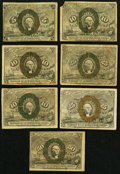 Fractional Currency:Second Issue, Second Issue Fractionals Seven Examples.. ... (Total: 7 notes)