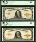 Large Size:Gold Certificates, $10 1922 Gold Certificates Two Different Friedberg Numbers.. ...(Total: 2 notes)