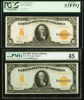 Large Size:Gold Certificates, $10 1907 Gold Certificate Pairing.. ... (Total: 2 notes)